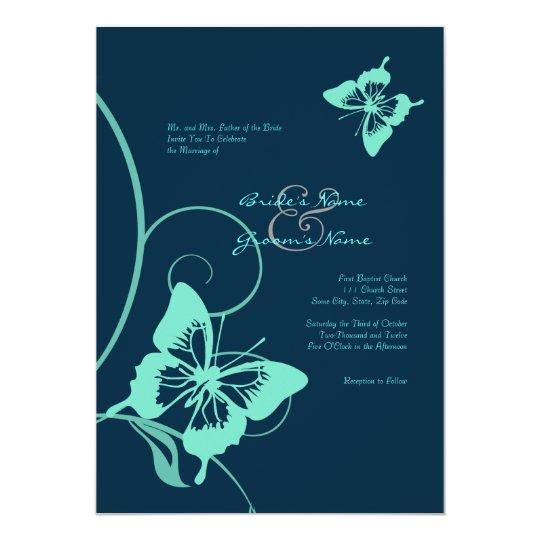 Dark Blue Wedding Invitations: Dark Blue And Teal Butterfly Wedding Invitation