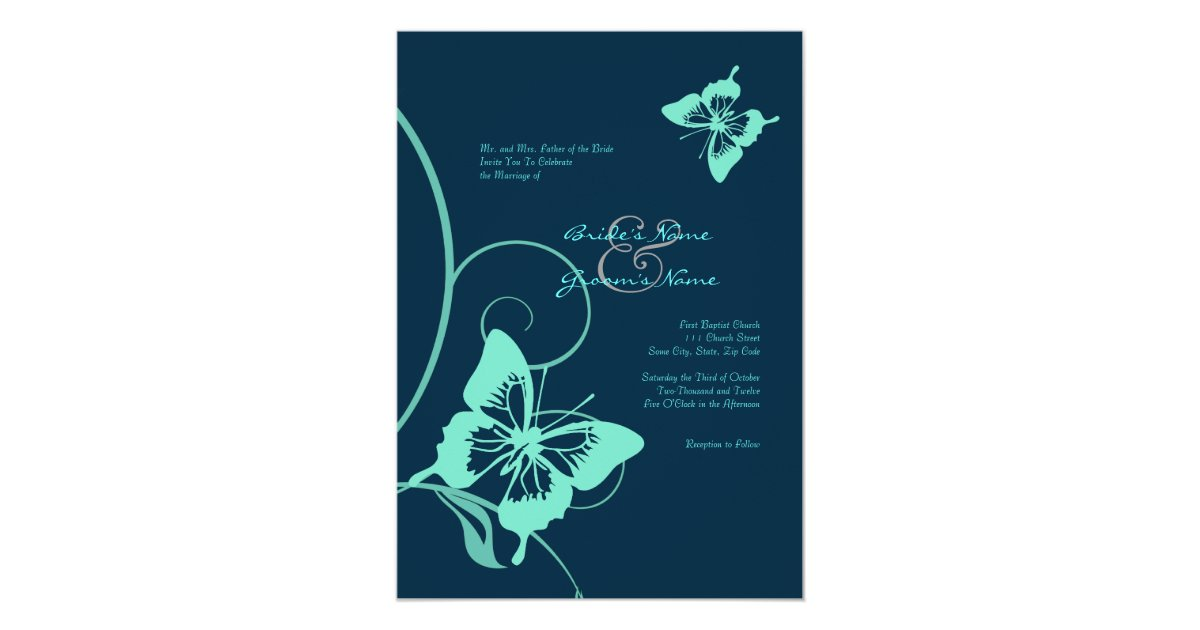Dark Blue Wedding Invitations: Dark Blue And Teal Butterfly Wedding Invitation