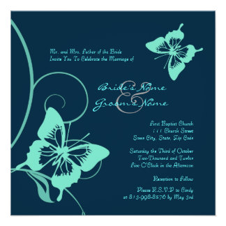 Dark Blue and Teal Butterfly Wedding Invitation