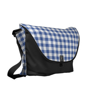 Dark Blue and White Check Gingham Messenger Bags
