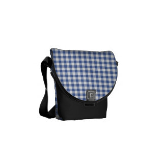 Dark Blue and White Check Gingham Pattern Commuter Bags