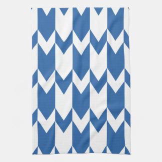 Dark Blue and White Chevron Pattern. Tea Towel