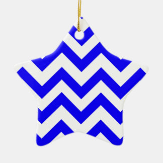 Dark Blue And White Chevrons Christmas Ornament