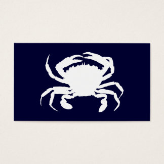 Dark Blue and White Crab Shape Business Card
