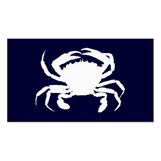 Dark Blue and White Crab Shape Pack Of Standard Business Cards