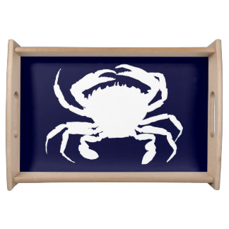 Dark Blue and White Crab Shape Serving Tray