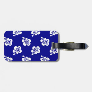 Dark Blue and White Hawaiian Floral Pattern Luggage Tag
