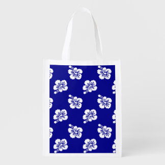 Dark Blue and White Hawaiian Floral Pattern Reusable Grocery Bag