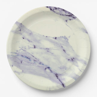 Dark Blue and White Marble 9 Inch Paper Plate