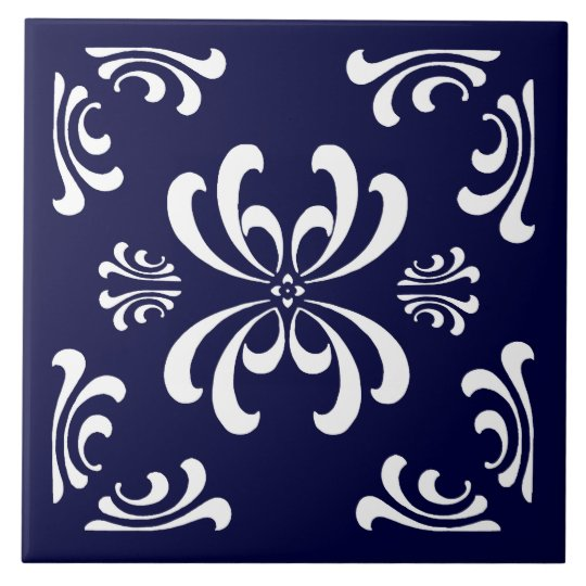 Dark Blue and White Nouveau Flourish Ceramic Tile