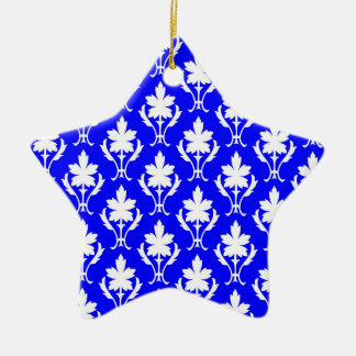 Dark Blue And White Ornate Wallpaper Pattern Christmas Ornament