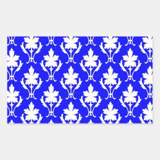 Dark Blue And White Ornate Wallpaper Pattern Rectangular Sticker