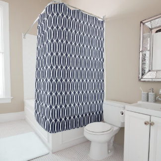 Dark Blue and White Oval Geometric Shower Curtain