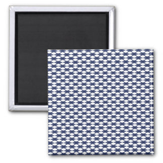 Dark Blue and White Oval Pattern Square Magnet