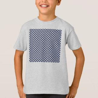 Dark Blue and White Oval Pattern T-Shirt