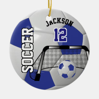 Dark Blue and White Personalize Soccer Ball Round Ceramic Decoration