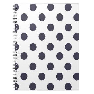 Dark Blue and White Polkadots Notebook