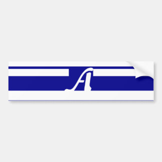 Dark Blue and White Random Stripes Monogram Bumper Stickers