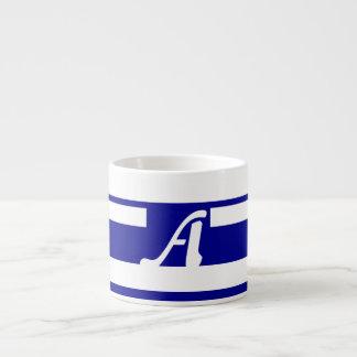 Dark Blue and White Random Stripes Monogram Espresso Cups