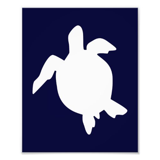 Dark Blue and White Sea Turtle Vertical A Art Photo
