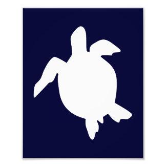 Dark Blue and White Sea Turtle Vertical A Photo Print