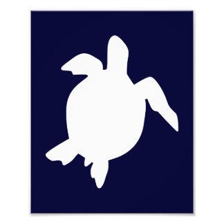 Dark Blue and White Sea Turtle Vertical B Photo Print