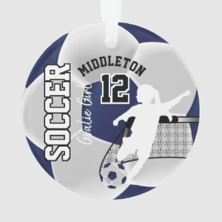 Dark Blue and White Soccer Goalie Girl Ornament