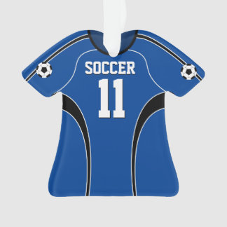 Dark Blue and White Soccer Jersey Ornament