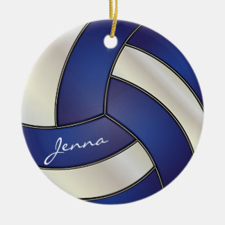 Dark Blue and White Volleyball | DIY Name Christmas Ornament
