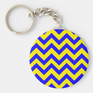 Dark Blue And Yellow Chevrons Basic Round Button Key Ring