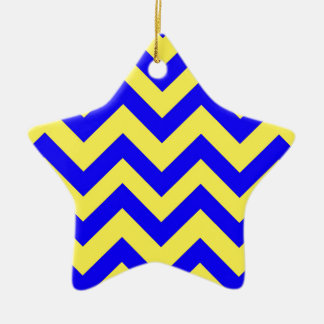 Dark Blue And Yellow Chevrons Christmas Ornament