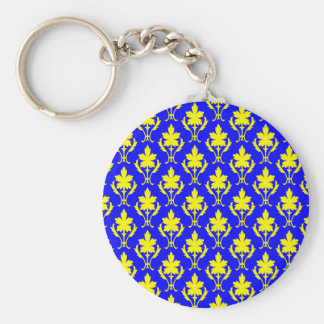 Dark Blue And Yellow Ornate Wallpaper Pattern Basic Round Button Key Ring