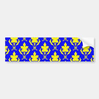 Dark Blue And Yellow Ornate Wallpaper Pattern Bumper Sticker