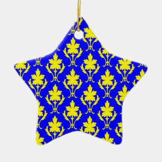 Dark Blue And Yellow Ornate Wallpaper Pattern Christmas Ornament