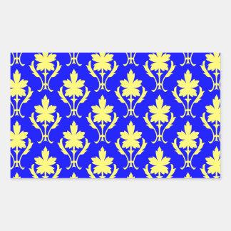 Dark Blue And Yellow Ornate Wallpaper Pattern Rectangular Sticker