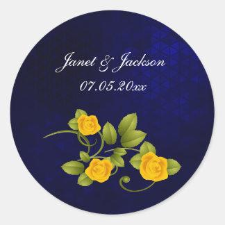 Dark Blue and Yellow Rose Wedding Round Sticker