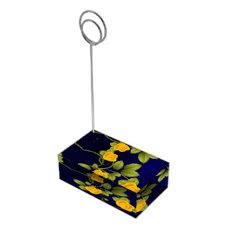 Dark Blue and Yellow Rose Wedding Table Card Holder