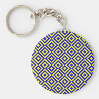 Dark Blue And Yellow Square 001 Pattern Basic Round Button Key Ring