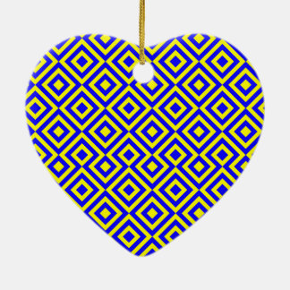 Dark Blue And Yellow Square 001 Pattern Ceramic Heart Decoration