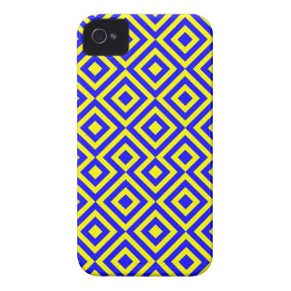 Dark Blue And Yellow Square 001 Pattern iPhone 4 Case-Mate Case