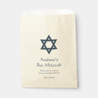 Dark Blue Bar Mitzvah Personalized Favour Bags