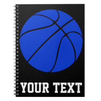 Dark Blue Basketball Custom Text Spiral Notebook