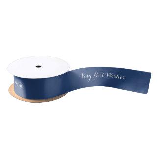 Dark Blue Best Wishes Custom Text Any Color Satin Ribbon