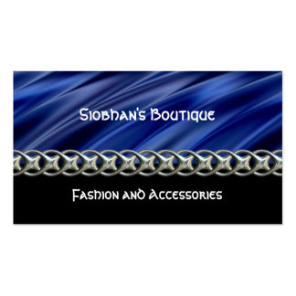 Dark blue, black & silver chain pack of standard business cards