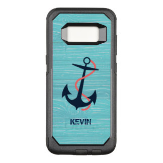 Dark Blue Boat Anchor & Blue Wood Texture OtterBox Commuter Samsung Galaxy S8 Case