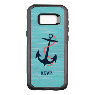 Dark Blue Boat Anchor On Blue Wood Texture OtterBox Commuter Samsung Galaxy S8+ Case