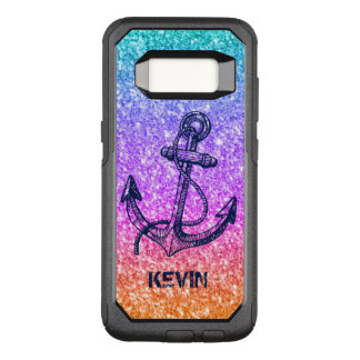Dark-Blue Boat Anchor On Colorful Glitter OtterBox Commuter Samsung Galaxy S8 Case