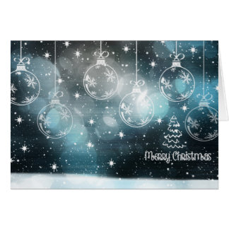 Dark Blue Bokeh Christmas Ornaments Card