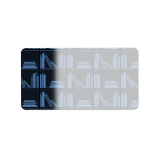 Dark Blue Books on Shelf. Address Label