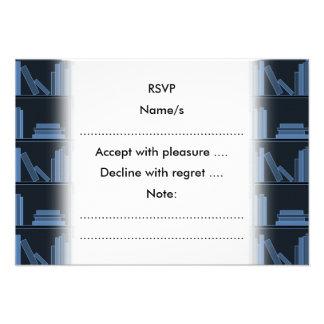 Dark Blue Books on Shelf Custom Invitations